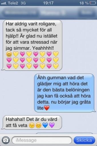 Lite beröm via SMS :)