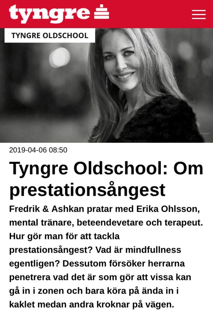 erika ohlsson, tyngre oldschool, beteendevetare, mental tränare, coach, prestationsångest, mindfulness, flow
